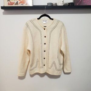 Vintage Oversized Cream and Black Wool Cardigan